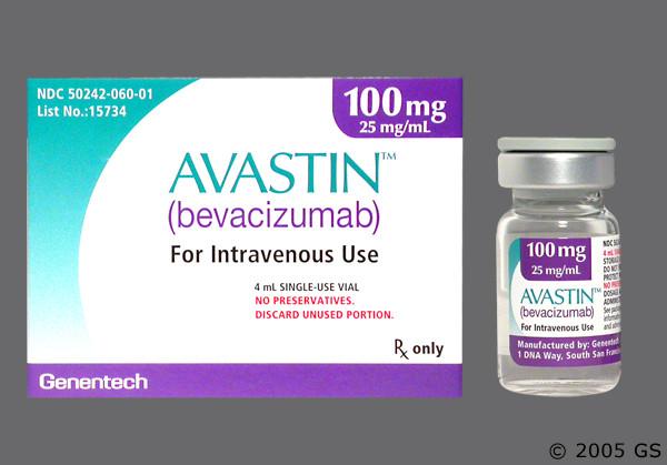 Photo of the drug Avastin (generic name(s): BEVACIZUMAB).